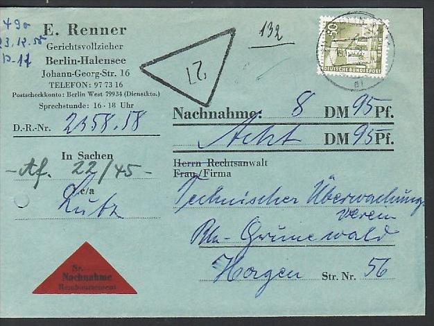 Berlin Nachnahme Beleg - bedarf    ( zz3977 ) siehe scan  !