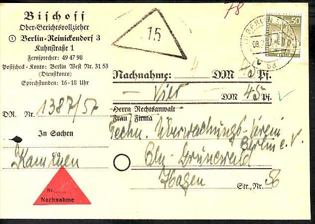 Berlin Nachnahme Beleg - bedarf    ( zz3976 ) siehe scan  !