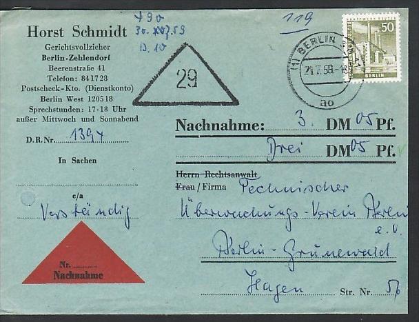 Berlin Nachnahme Beleg - bedarf    ( zz3975 ) siehe scan  !