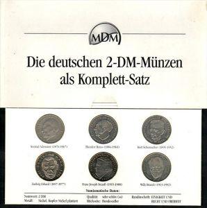 BRD  2 DM Münzen komplett Satz  (zz4008 )  siehe scan !