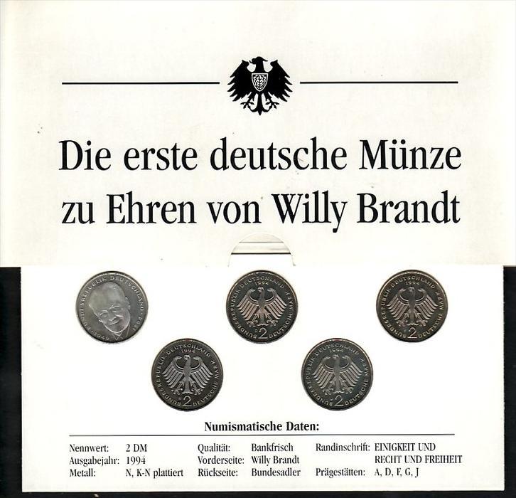 BRD  2 DM Münzen  Willy Brandt   (zz4007 )  siehe scan !