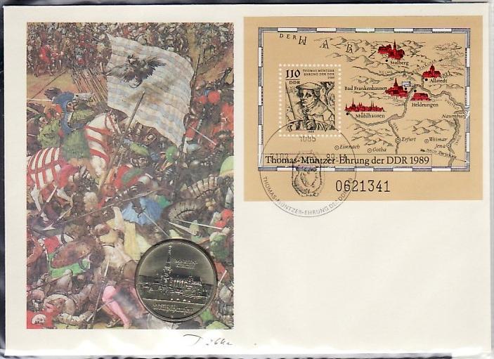 DDR offizieller Numisbrief  T.Münzer  1989   (zz4014 )bitte lesen+  siehe scan !