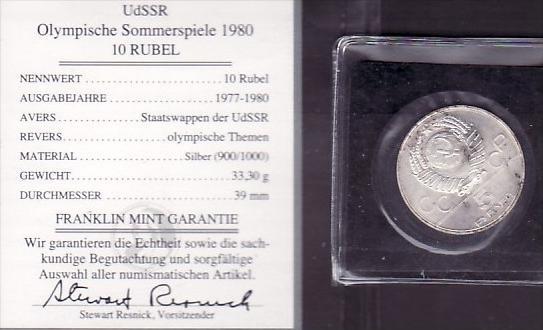 Münze Olympiade Udssr 1980 5 Rubel Silber X1523 Siehe Scan