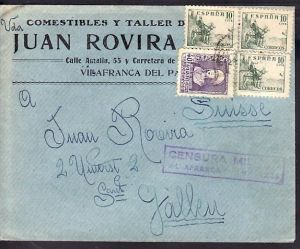 Spanien mit Zensur  alter Brief  (zz3968 ) siehe scan  !