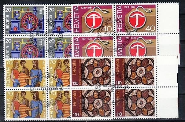 Schweiz   - 4er Block 1206-9  -Versandstellenstempel    (zz4139  ) siehe Bild !