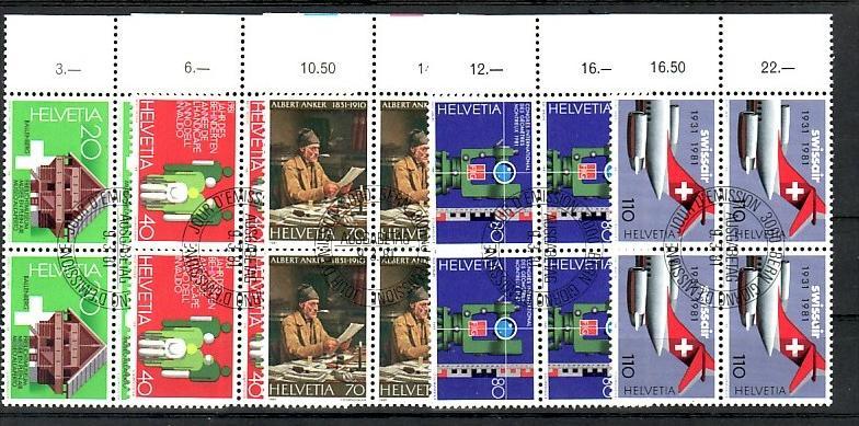 Schweiz   - 4er Block 1190-5    -Versandstellenstempel    (zz4140  ) siehe Bild !