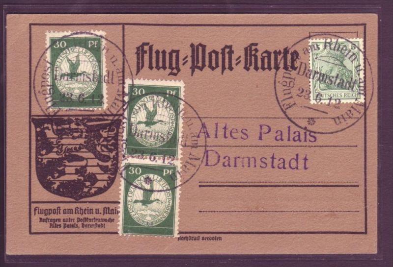 D.-Reich   Flugkarte  mit 3x Nr. III  schönes Teil   ( p3498 ) siehe scan  !