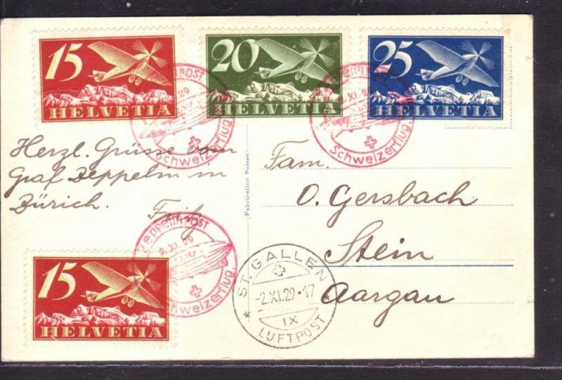 Schweizer Zeppelin Karte  1929    ( p3501 ) siehe scan  !