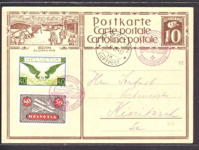 Schweizer Zeppelin Karte  1929    ( p3500 ) siehe scan  !