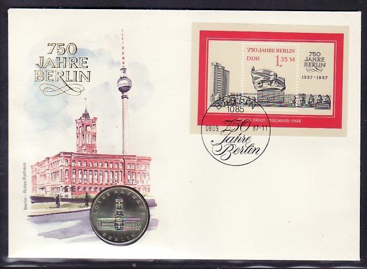 DDR Numisbrief  750 Jahre Berlin     ( bc 500  ) siehe scan  !