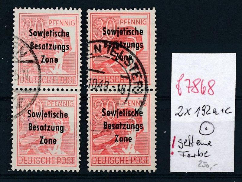 sowjet Zone Nr.  2x2  192 o 1 Paar seltene Farbe !  (f7868  )  siehe scan