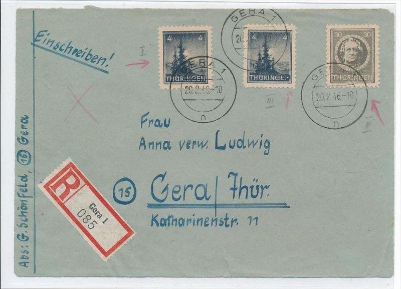 SBZ-Nr. Briefvorderseite mit 3 schönen Plattenfehlern    (bc939  ) siehe scan  !