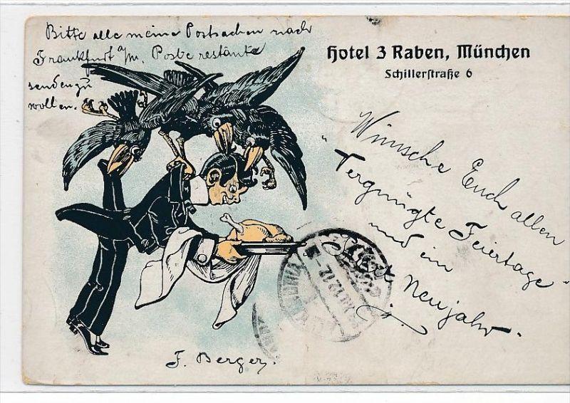 alte Karte-München Hotel 3 Raben ( bc1096 ) siehe scan