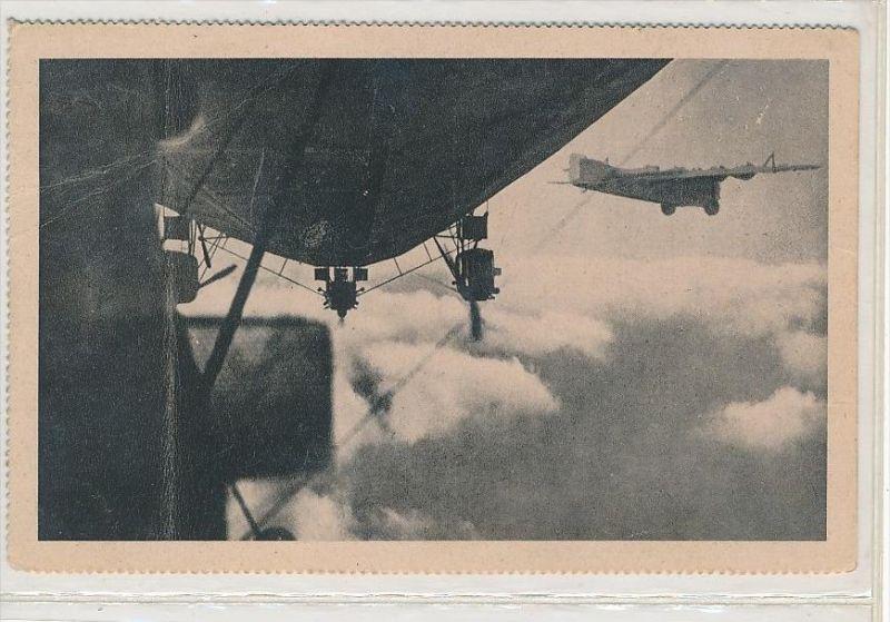 alte Karte Flugzeug +Zeppelin    (bc1144 ) siehe scan  !