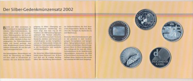 BRD Silber Gedenkmünzen Set 2002 polierte Platte  (x1593 ) siehe scan
