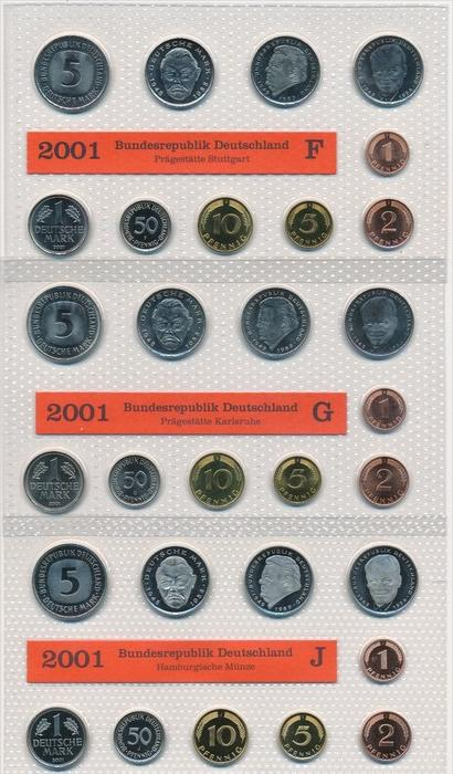 BRD  Kursmünzset 5 Serien im Blister 2001 =200 €   (x1594 ) siehe scan