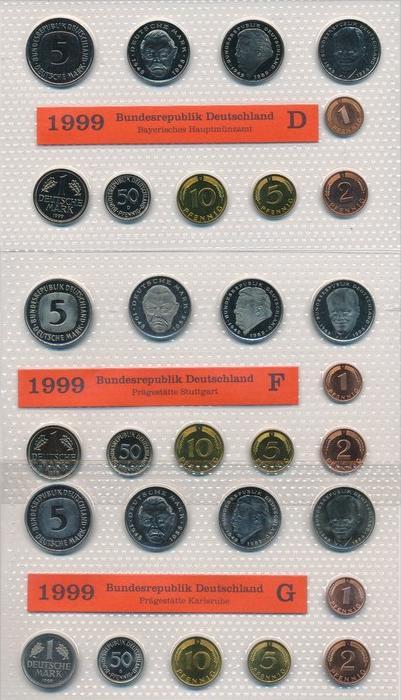 BRD  Kursmünzset 5 Serien im Blister 1999 = 175,- €   (x1591 ) siehe scan