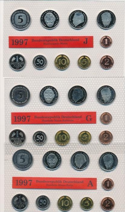 BRD  Kursmünzset 5 Serien im Blister 1997 = 175,- €   (x1589 ) siehe scan
