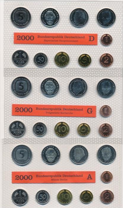 BRD  Kursmünzset 5 Serien im Blister 2000  = 300,- €   (x1588 ) siehe scan