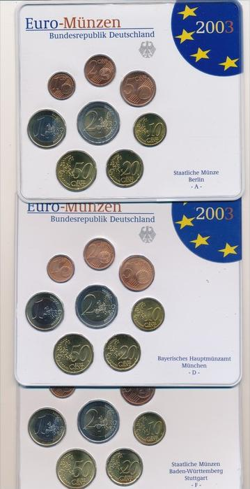 BRD  Kursmünzset 5 Serien im Blister 2003  (x1592 ) siehe scan