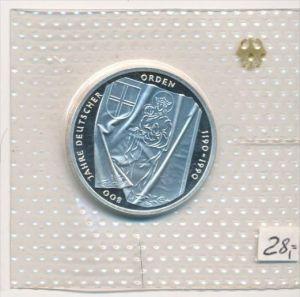 Deutschland  Silber 10 ,-D.-Mark 1990  Deutscher Orden  Polierte Platte-PP   (x1604 )