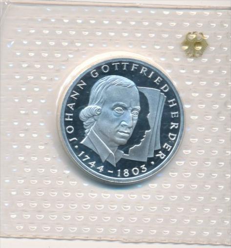 Deutschland  Silber 10 ,-D.-Mark 1994 G  J.Gottf.Herder    Polierte Platte-PP   (x1627 )