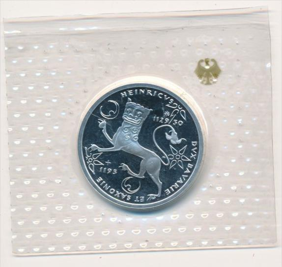 Deutschland  Silber 10 ,-D.-Mark 1995 F  König Heinrich    Polierte Platte-PP   (x1606 )