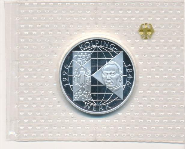 Deutschland  Silber 10 ,-D.-Mark 1996 A Kolping  Polierte Platte-PP   (x1626 )
