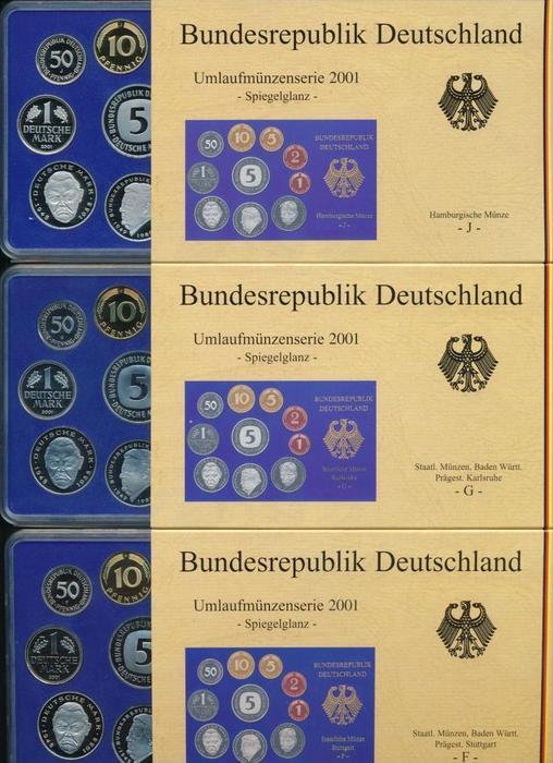 BRD  5x Jahressatz ,alle Prägen in polierte Platte  2001 ~ 300 Euro   (x1629 )