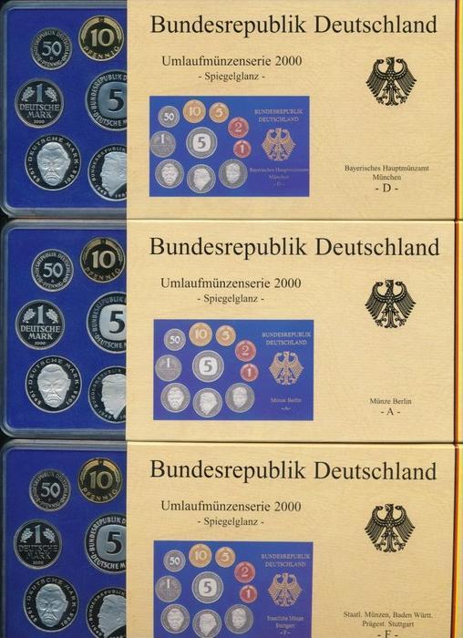 BRD  5x Jahressatz ,alle Prägen in polierte Platte  2000 ~ 250  Euro   (x1630 )
