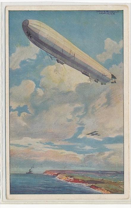 alte Karte mit Zeppelin     ( bc1325  ) siehe scan  !