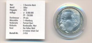 BRD  5,-D-Mark Ebert 1975  J Silber   -Stempelglanz ( x1651 ) siehe scan !