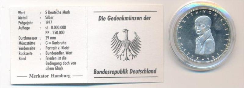 BRD  5,-D-Mark -Kleist 1977 G  - Silber   -Stempelglanz ( x1646 ) siehe scan !