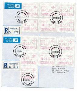 Südafrika /RSA  Lot   2- R.-Briefe/FDC  Automaten Marken (bc1927 ) siehe Bilder