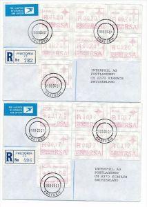 Südafrika /RSA  Lot   2- R.-Briefe/FDC  Automaten Marken (bc1926 ) siehe Bilder