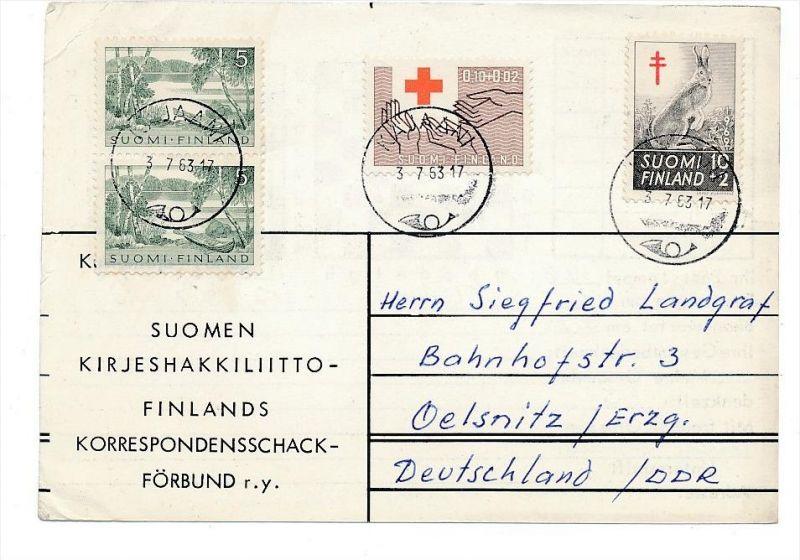 Finnland Beleg in die DDR -aus der Korrespondenz eines Fernschachspielers ! (bc2368 ) siehe scan !