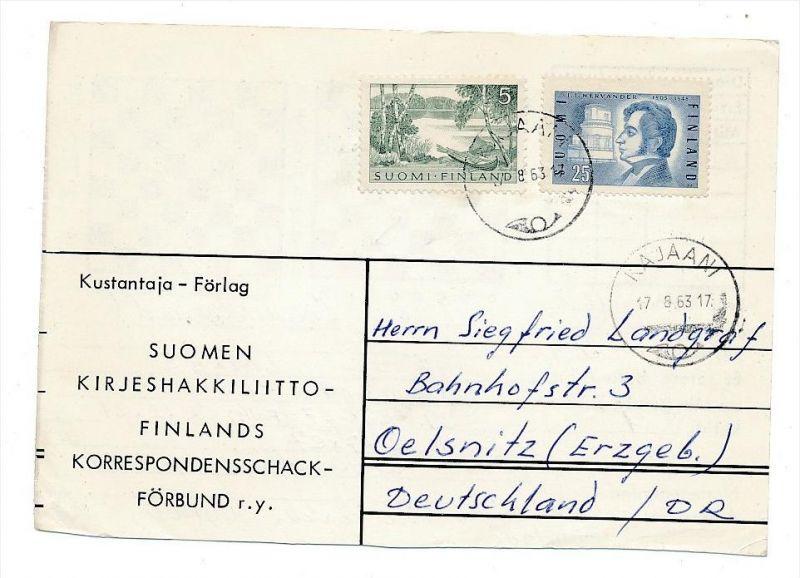 Finnland Beleg in die DDR -aus der Korrespondenz eines Fernschachspielers ! (bc2362 ) siehe scan !