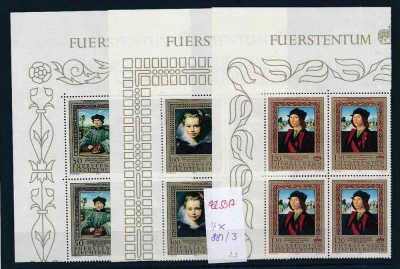 Liechtenstein  4er Eckrand Block **/MNH  881-3(zz5317 ) Discount unter ABO Preis !!!