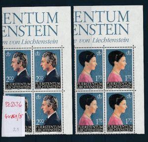 Liechtenstein  4er Eckrand Block **/MNH  864-5  (zz5336 ) Discount unter ABO Preis !!!