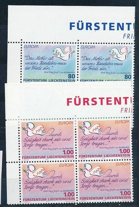 Liechtenstein  4er Eckrand Block **/MNH  1103-4  (zz5409  ) Discount unter ABO Preis !!!
