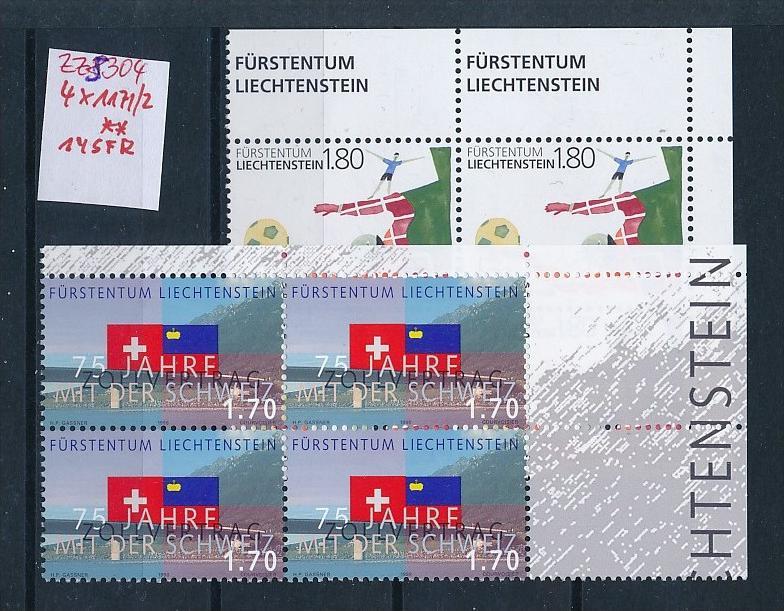 Liechtenstein  4er Eckrand Block **/MNH  1171-2 (zz5404  ) Discount unter ABO Preis !!!