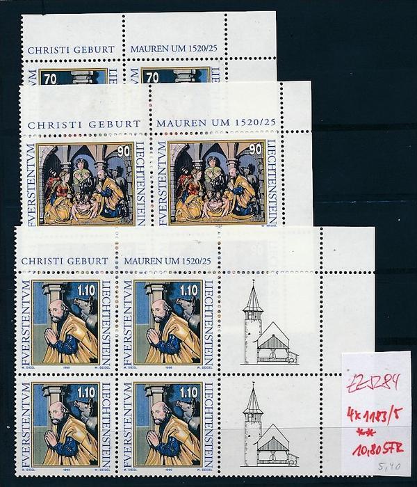 Liechtenstein  4er Eckrand Block **/MNH  1183-5 (zz5284  ) Discount unter ABO Preis !!!