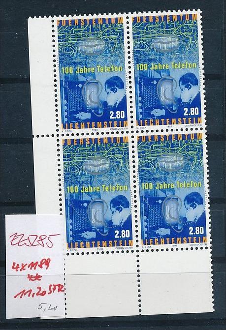 Liechtenstein  4er Eckrand Block **/MNH  1189  (zz5285  ) Discount unter ABO Preis !!!