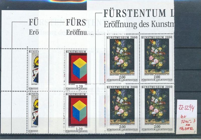 Liechtenstein  4er Eckrand Block **/MNH  1245-7  (zz5294 ) Discount unter ABO Preis !!!