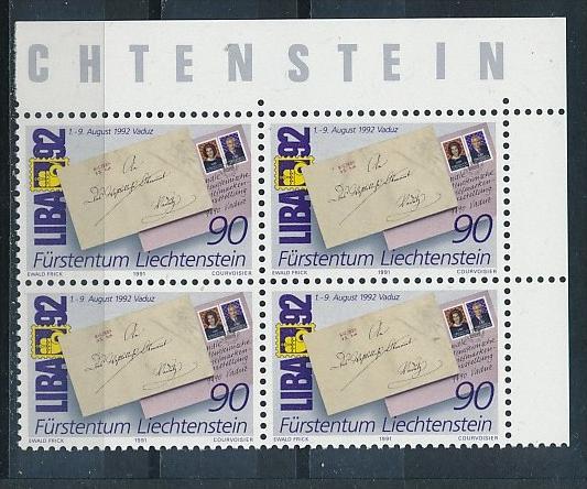 Liechtenstein  4er Eckrand Block **/MNH  1026 ( zz5353 ) DISCOUNT-unter ABO Preis !!