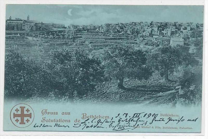 Bethlehem  Litho   Karte  ( da2852  ) über 100 Jahre alt !!