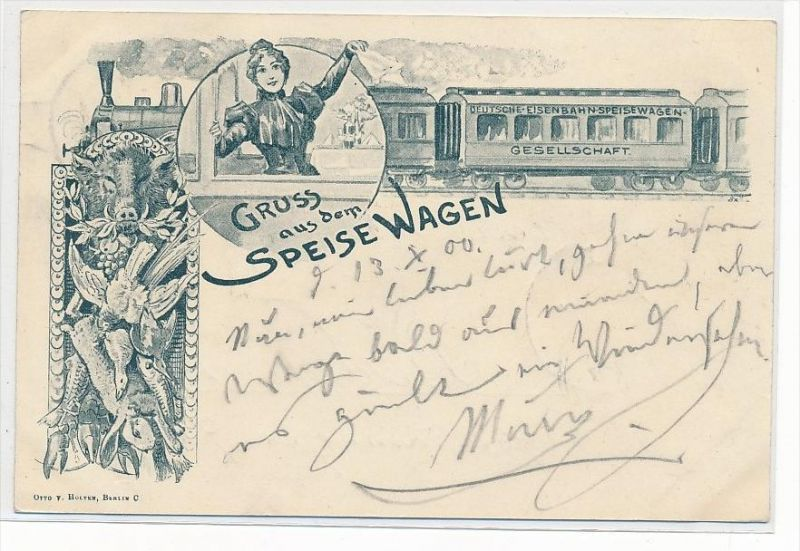 aus dem Speisewagen- Karte (da3116 ) über 100 Jahre alt !!