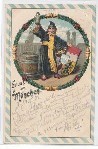 Gruss aus München Präge   -Karte    (da 3179 ) über 100 Jahre alt