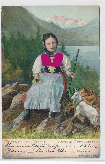 Kind in Schweizer Tracht/Präge und Stoffaufkleber   -Karte  (da3543 ) über 100 Jahre alt !!