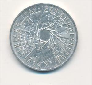 Deutschland  10,-D.-Mark Silber -1989 Länderwappen    (x1784 ) siehe scan !